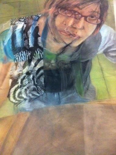 """""""Unconventional Self Portrait"""" Chalk Pastels 18""""x24"""" 2010"""