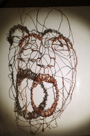 """Scream"" Wire on canvas, spotlight 12""x18"" 2013"