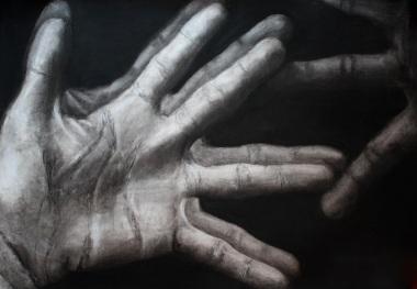 """""""Ego Manus"""" Charcoal on Paper 36""""x48"""" 2011"""