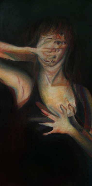 """Separation of Heart and Mind"" Chalk Pastels on Paper 35""x73"" 2012"