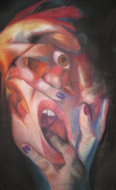 """Tearing Myself Apart"" Chalk Pastels on Paper 42""x77"" 2012"